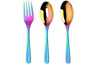(Rainbow) - Long Handle Serving Set, 25cm Stainless Steel Polished Serving Spoon, Fork, Slotted Spoons, Set of 3 (Rainbow)
