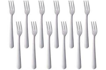 (12 PCS Fruit Forks, Silver) - Fruit Fork Stainless Steel Small Appetiser Forks Set of 12, BUY & USE 14cm Pastry Fork Salad Dessert Silver Flatware