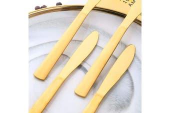 (12 PCS Dinner Knives, Gold) - BUY & USE 20cm Dinner Knives Table Dinner Knife for Restaurant Catering, Commercial Quality Gold Flatware Set Pack of 12