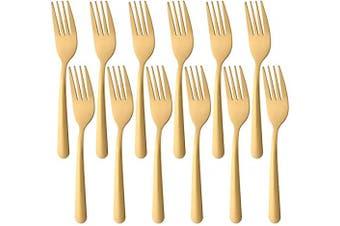 (12 PCS Salad Forks, Gold) - BUY & USE 16cm Dinner Forks Salad Forks Tea Fork Set Cutlery Pack of 12 Stainless steel