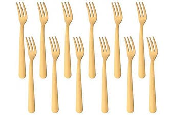 (12 PCS Fruit Forks, Gold) - Fruit Fork Salad Pastry Small Oyster Forks 12 Pieces, BUY & USE 14cm Stainless Steel Gold Flatware