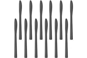 (12 PCS Dinner Knives, Black) - BUY & USE 20cm Dinner Knife Black Flatware Knives Stainless Steel Butter Knife, Home Restaurant Catering Kitchen Knives, Set of 12