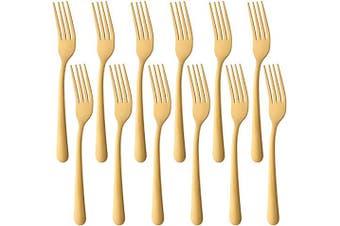 (12 PCS Dinner Forks, Gold) - 18cm Dinner Forks Stainless Steel Dessert Fork, BUY & USE Gold Cutlery Pack of 12