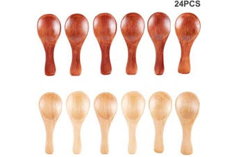 Amajoy 24 PCS Small Wooden Spoons DIY Christmas Gift Sugar Scrubs Spoon Wedding Favour Bath Salt Spoon Mini Condiments Seasoning Salt Honey Teaspoon Coffee Tea Jam Ice Cream Wood Teaspoons