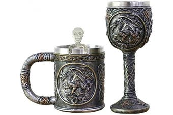 Dragon Skull Mug Goblet Spoon Set of 3 Stainless Steel - Steampunk Beer Stein Tankard Decor Gift or Coffee Mug & Wine Chalice Christmas, Anniversaries, Mother's & Father's Days