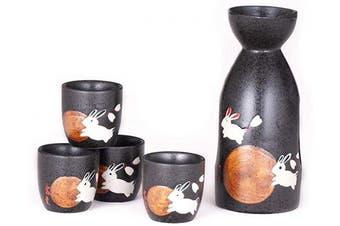 (Moon Rabbit) - Hinomaru Collection Japanese Style Sake Set With 350ml Porcelain Sake Tokkuri Bottle Decanter and Four Ochoko Cups Drinkware Gift Set (Moon Rabbit)
