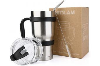 (Silver) - HITSLAM Tumbler 890ml Double Wall Stainless Steel Tumbler Vacuum Insulation Travel Mug for Cold Drink/Hot Beverage includes 2 Straw Lids, Cup Handle, Straw, Cleaning Brush (Silver)