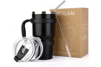 (Black) - HITSLAM Tumbler 890ml Double Wall Stainless Steel Tumbler Vacuum Insulation Travel Mug for Cold Drink/Hot Beverage includes 2 Straw Lids, Cup Handle, Straw, Cleaning Brush (Matte Black)