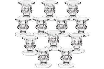2CFUN Glass Candlestick Holders Set of 12 Tall Taper Candle Holders Small Bulk Candle Holder Decor for Party Supplies for Wedding Birthday Christmas and Gruduation