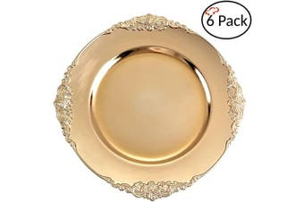 (6, Antique Gold) - Tiger Chef Gold Charger Plates - Antique Plate Chargers for Dinner Plates - Set of 6 Dinner Chargers (6, Antique Gold)