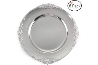(6, Antique Silver) - Tiger Chef Silver Charger Plates - Antique Plate Chargers for Dinner Plates - Set of 6 Dinner Chargers (6, Antique Silver)