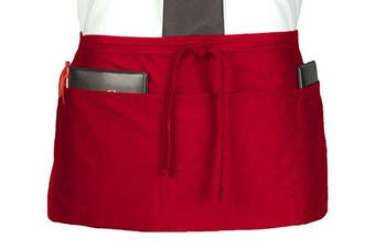 (Red) - Ritz CL3PWACRD 4 Pocket Waist Serving Apron, Red, 1 Pack, One Size