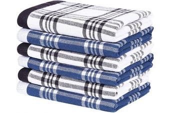 (dish cloths 12*30cm , Color 9) - Homaxy 100% Natural Cotton Terry Kitchen Dish Cloths, 30cm x 30cm Ultra Absorbent Drying Dish Towels, Plaid Dish Rags - Great for Household Cooking Cleaning, 6pc/Set, Grey and Blue