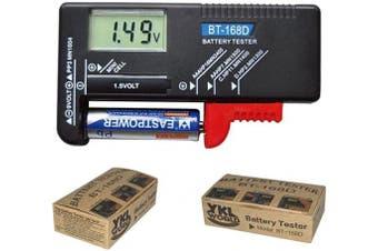 (BT-168D) - YKL WORLD Battery Tester, Digital LCD Universal Battery Checker for AA AAA C D 9V 1.5V Button Cell Batteries (Model: BT-168D)