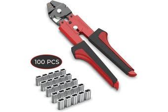 REKOBON 0.2cm Wire Rope Crimping Cutting Tool with 100 PCS Aluminium Double Barrel Ferrule Crimping Loop Sleeves Kit