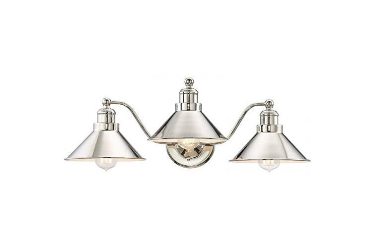 Polished Nickel 3 Light Kira Home Welton 60cm 3 Light Modern Farmhouse Bathroom Light Vintage Vanity Barn Light Polished Nickel Finish Kogan Com