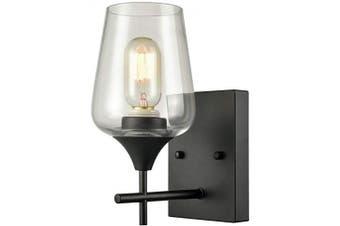 (1 Light) - Matte Black Simplicity 1 Light Clear Glass Wall Sconce Industrial Bathroom Vanity Lighting