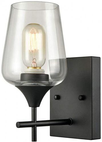 Image of: 1 Light Matte Black Simplicity 1 Light Clear Glass Wall Sconce Industrial Bathroom Vanity Lighting Matt Blatt