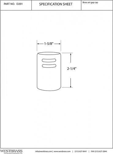 Matte Black Standard Westbrass R201-62 Air Gap Cap