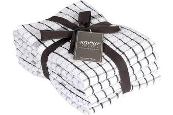 (Kitchen Towels 50cm  X 70cm , Dark Grey) - Amour Infini Terry Kitchen Towels | Set of 4 | 50cm x 70cm | Super Plush and Absorbent |100% Cotton Dish Towels with Hanging Loop | Perfect for Kitchen and Household Uses | Dark Grey