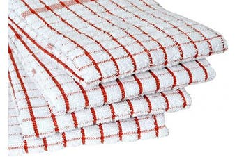 (Kitchen Towels 50cm  X 70cm , Rust) - Amour Infini Terry Kitchen Towels | Set of 4 | 50cm x 70cm | Super Plush and Absorbent |100% Cotton Dish Towels with Hanging Loop | Perfect for Kitchen and Household Uses | Rust