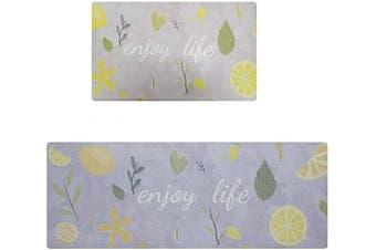 (43cm  x 70cm +43cm  x 120cm , Lemon) - Non-Slip Kitchen Rug,Kitchen Floor Cushion Mat,Comfortable Standing,Waterproof,Easy to Clean,17x28''+17x47'', Lemon
