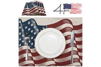 (Wave) - ANPHSIN Set of 4 Fourth of July Placemats- 12.6 × 42cm Washable Cotton & Linen Independence Day Wave American Flag Holiday Table Heat-Resistant Place Mats for Kitchen Dining Tabletop Decor