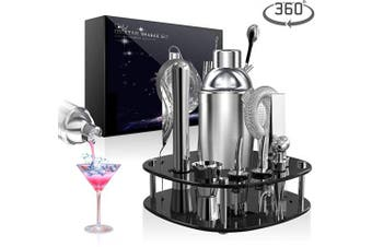 OHYGGE 18 PCS Black Acrylic Cocktail Shaker Set Bartender Kit with with Rotating Display Stand and Recipes Booklet