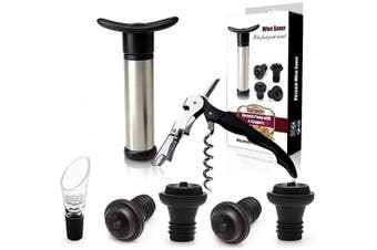 (Stopper-7pcs) - Wine Tools Wine Stoppers Pourer Wine saver 4 Wine Stoppers Wine Saver Vacuum Pump Stainless Steel 7pcs