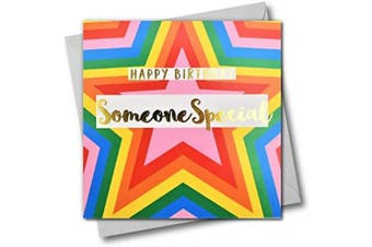 Happy Birthday Someone Special, Colourful Stars, Greeting Card with Text Foiled in Shiny Gold
