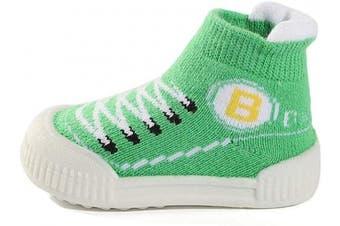 MK Matt Keely Soft Rubber Sole Baby Sock Shoes Toddler Anti-Slip Slipper Socks First Walking Shoes for Baby Boy Girl Prewalker Green