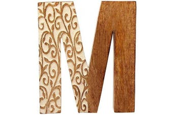 (M) - Aheli Wooden Decorative Wall Hanging Alphabet Letter for Children Baby Name Girls Bedroom Home Birthday Wedding Party Decorations - Letter M