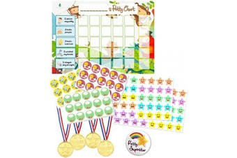 (Jungle) - Potty Training Reward Chart - Toilet Training Star Chart for Toddlers Boys & Girls with 140+ Stickers, Reward Medals, Big Completion Badge by Flair Essentials