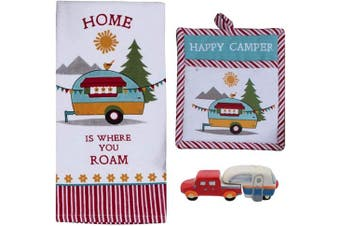 18TH STREET GIFTS Happy Camper RV Decor - Dish Towel, Oven Mitt, and Salt Pepper Set - Camper Decorations for Travel Trailers