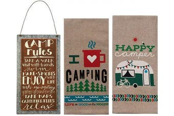 18TH STREET GIFTS Happy Camper Decor - Camper Dish Towels and Camping Rules Sign - Camper Decorations for Travel Trailers