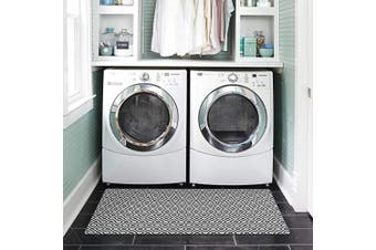 (50cm  x 120cm , A02) - Abreeze Laundry Room Floor Rugs Diamond Durable Washhouse Mat Geometric Rubber Runner Rug Non-Slip Doormat Kitchen Rug 50cm x 120cm Black and White