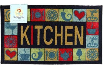 (18x30, Kitchen Pattern) - Arkwright Sloppy Chef Printed Nylon Kitchen Rug (46cm x 80cm .), Non-Skid Latex Backing Throw Rugs (Kitchen Pattern)