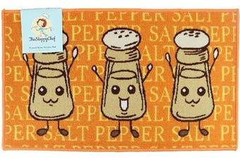 (18x30, Salt & Pepper Pattern) - Arkwright Sloppy Chef Printed Nylon Kitchen Rug (46cm x 80cm .), Non-Skid Latex Backing Throw Rugs (Salt & Pepper Pattern)