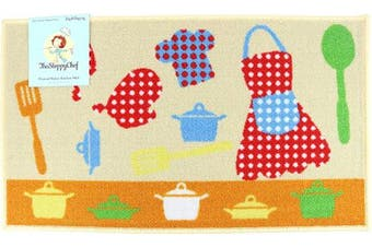 (18x30, Pots Pattern) - Arkwright Sloppy Chef Printed Nylon Kitchen Rug (46cm x 80cm .), Non-Skid Latex Backing Throw Rugs (Pots Pattern)
