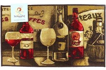 (18x30, Wine Pattern) - Arkwright Sloppy Chef Printed Nylon Kitchen Rug (46cm x 80cm .), Non-Skid Latex Backing Throw Rugs (Wine Pattern)