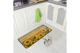 (Beautiful Vintage Sunflowers) - AGONA Anti Fatigue Kitchen Mat Vintage Sunflowers Leaves Kitchen Floor Mat Soft Standing Mats Non Slip Kitchen Rugs Bath Rug Runner Carpet for Home Decor Indoor Outdoor