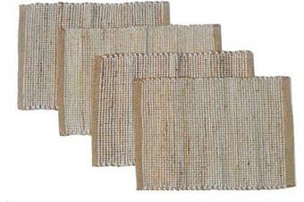 "(33cm  x 48cm , Beige Ivory) - Chardin home Eco-Friendly Natural Jute/Cotton Set of 4 Placemats, Size: 13""x19"", Beige/Ivory."