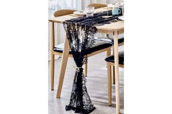 (Black) - BOXAN 80cm x 300cm Mysterious Black Lace Table Runner Boho Thanksgiving Lace Runner, Rustic Wedding Decorations, Lightweight Table Cover for Birthday Party Supplies Wedding Anniversary Party Decor