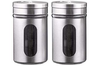 ZETA Salt and Pepper Shakers Set with Adjustable Pour Holes, Stainless Steel