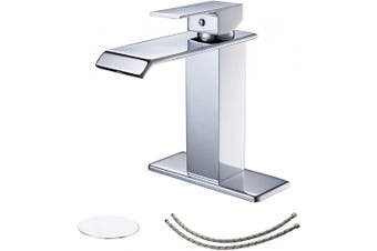 (Chrome) - BWE Chrome One Hole Single Handle Square Waterfall Bathroom Sink Faucet Lavatory Faucets Commercial