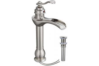 (6573H Brushed Nickel) - Bathlavish Tall Bathroom Vessel Sink Faucet Waterfall Brushed Nickel With Pop Up Drain Single Handle Lavatory Bowl Satin Mixer Tap One Hole Lever Without Overflow Commercial Supply Line Lead-Free