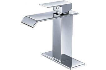 (Chrome) - BWE Waterfall Spout Single Handle One Hole Commercial Bathroom Sink Faucet Chrome Deck Mount Lavatory
