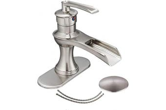 (Brushed Nickel 6571) - Bathlavish Bathroom Faucet Brushed Nickel Waterfall Single Hole One Handle Sink with Pop up Drain Stopper Vanity Basin Mixer Tap Farmhouse Lavatory with Overflow Supply Line Lead-Free