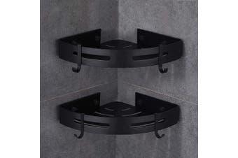 (Black) - Gricol Bath Corner Shower Shelves Adhesive Caddy