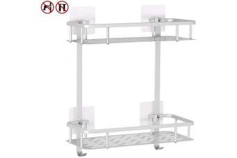 (Square) - Yeegout No Drill Bathroom Shelves, Aluminium Rustproof Adhesive Shower Shelf Kitchen Storage Basket with Hanging Hooks(2 Tier)